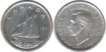 coin canadian old coin 10 cents 1941