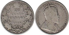 coin canadian old coin 25 cents 1910