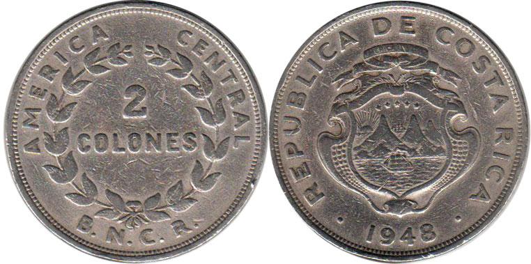 Coin Costa Rica 2 Colones 1948