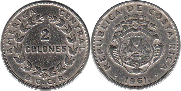 Value 2 3 Coin Costa Rica Colones 1961