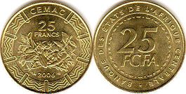 coin Central African States (CFA) 25 francs 2006