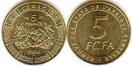 coin Central African States (CFA) 5 francs 2006