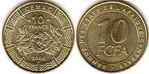 coin Central African States (CFA) 10 francs 2006