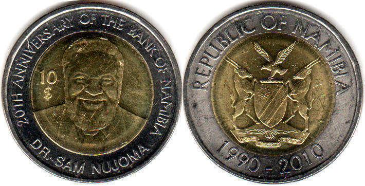 Afrika Republic Of Namibia 10 Dollars 2010-1990-2010