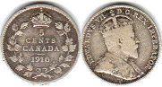 coin canadian old coin 5 cents 1910