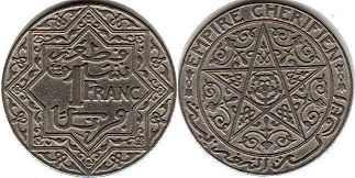 coin Morocco 1 franc ND (1921)