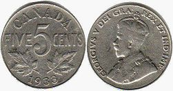 coin canadian old coin 5 cents 1933