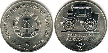 coin East Germany 5 mark 1990