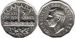 coin canadian commemorative coin 5 cents 1951