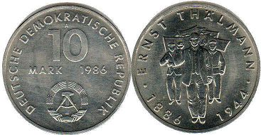 coin East Germany 10 mark 1986