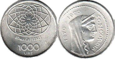 coin Italy 1000 lire 1970