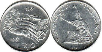 coin Italy 500 lire 1961
