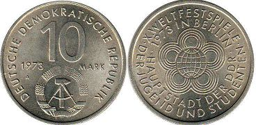 coin East Germany 10 mark 1973