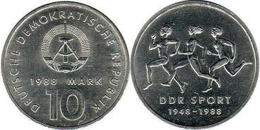 coin East Germany 10 mark 1988