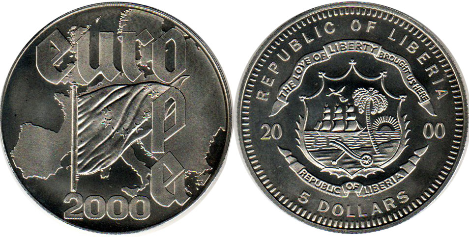 Value 5 7 Coin Liberia Dollars 2000
