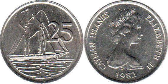 Coin Cayman Islands 25 Cents 1982