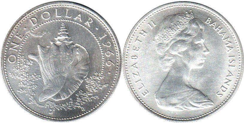 Coin Bahamas 1 Dollar 1966