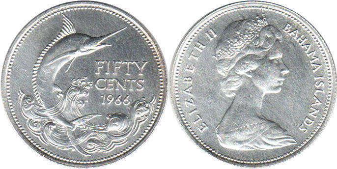 Coin Bahamas 50 Cents 1966