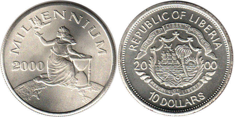 Coin Liberia 10 Dollars 2000 Millennium