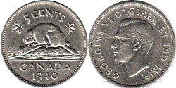 coin canadian old coin 5 cents 1940
