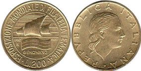 coin Italy 200 lire 1992