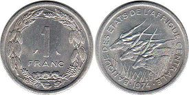 coin Central African States (CFA) 1 franc 1974
