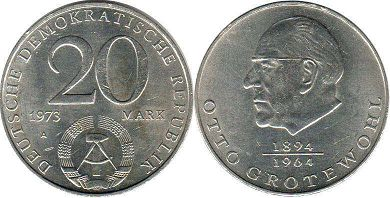 coin East Germany 20 mark 1973