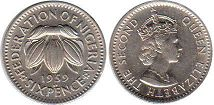 coin Nigeria 6 pence 1959