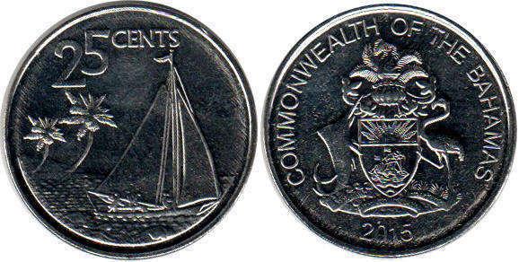 Value 1 2 Coin Bahamas 25 Cents 2017
