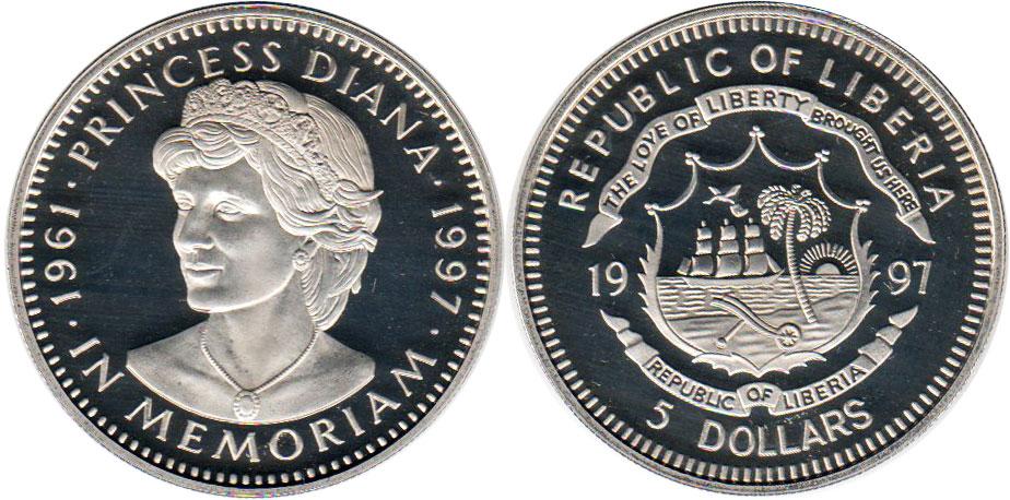 Value 4 7 Coin Liberia 5 Dollars 1997