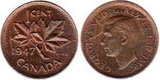 coin canadian old coin 1 cent 1947