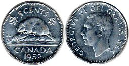 coin canadian old coin 5 cents 1952