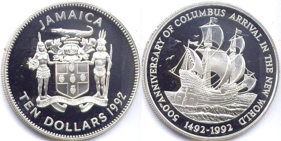 Coin Jamaica 10 Dollars 1992