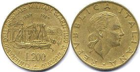 coin Italy 200 lire 1989
