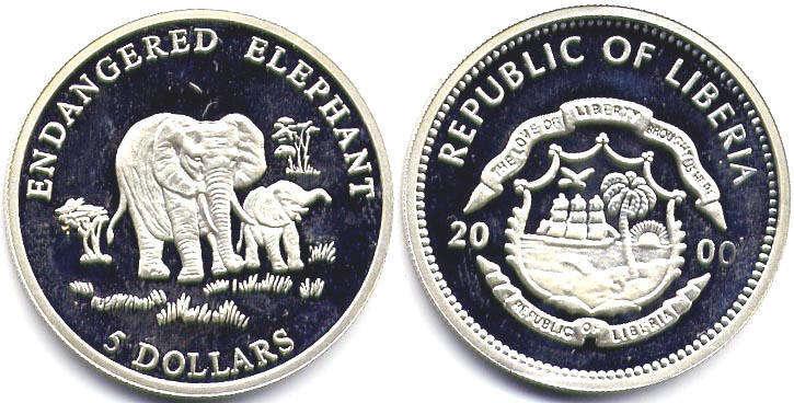 Value 8 10 Coin Liberia 5 Dollars 2000