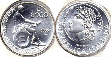 coin Italy 2000 lire 1999