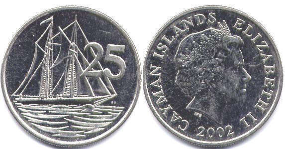 Value 1 Coin Cayman Islands 25 Cents 2002