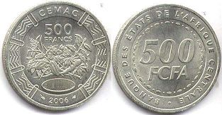 coin Central African States (CFA) 500 francs 2006