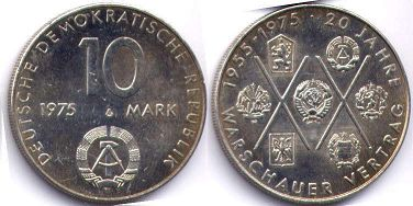 coin East Germany 10 mark 1975