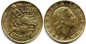 coin Italy 200 lire 1999