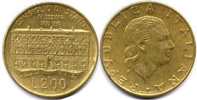 coin Italy 200 lire 1990