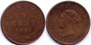 coin canadian old coin 1 cent 1901
