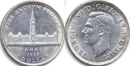 coin canadian old coin 1 dollar 1939