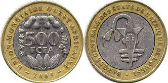 piece West African States 500 francs 2005