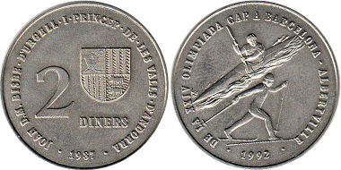 coin Andorra 2 diners 1987 Olympics