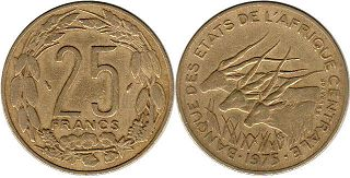 piece Central African States (CFA) 25 francs 1975