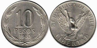 moneda Chilli 10 pesos 1980