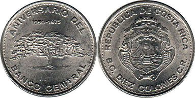 coin Costa Rica 10 colones 1975