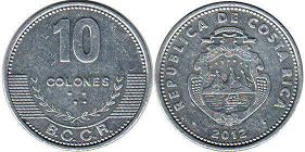 coin Costa Rica 10 colones 2012