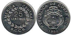 coin Costa Rica 25 centimos 1980